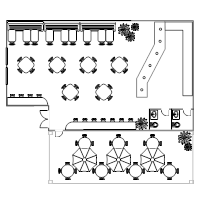 Restaurant floor plan examples for What size dining table for 10x10 room