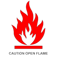 Caution Open Flame Sign
