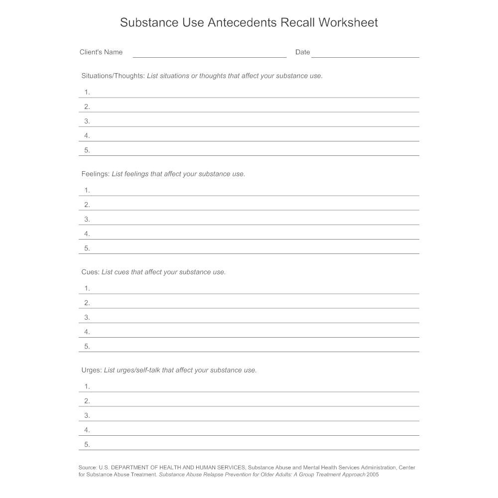 substance use antecedents recall worksheet