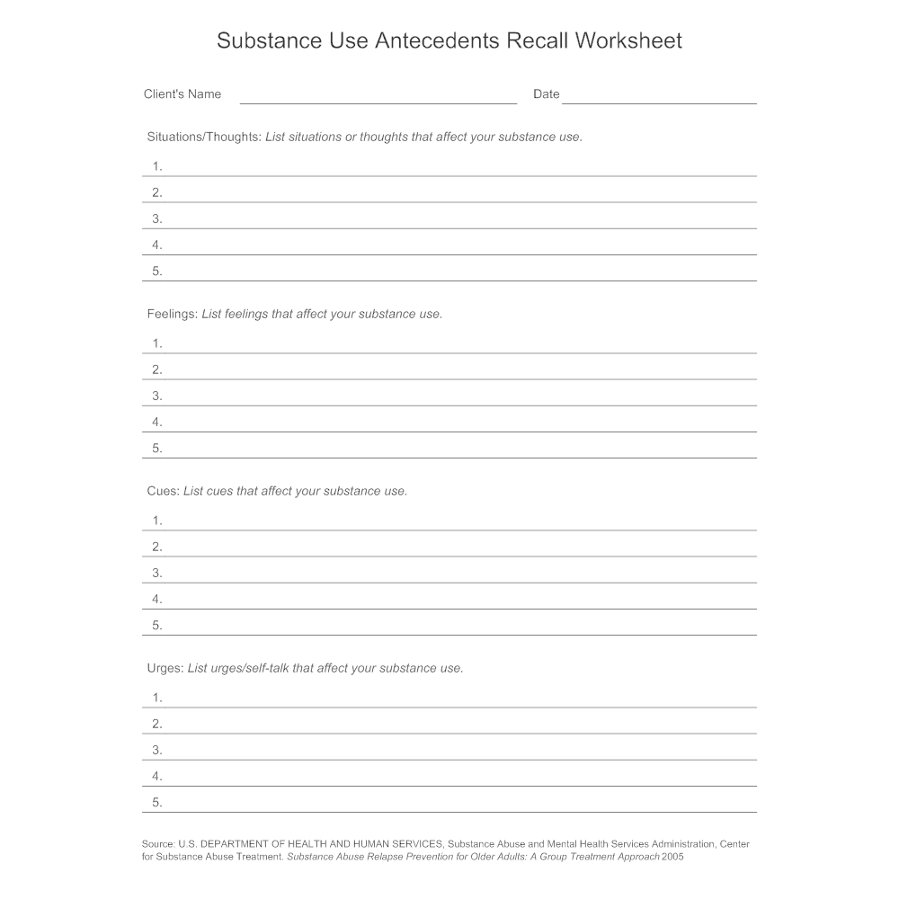 Example Image: Substance Use Antecedents Recall Worksheet