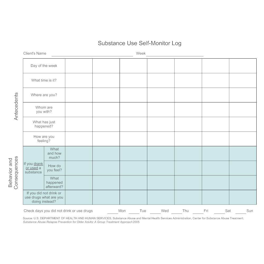 Example Image: Substance Use Self-Monitor Log