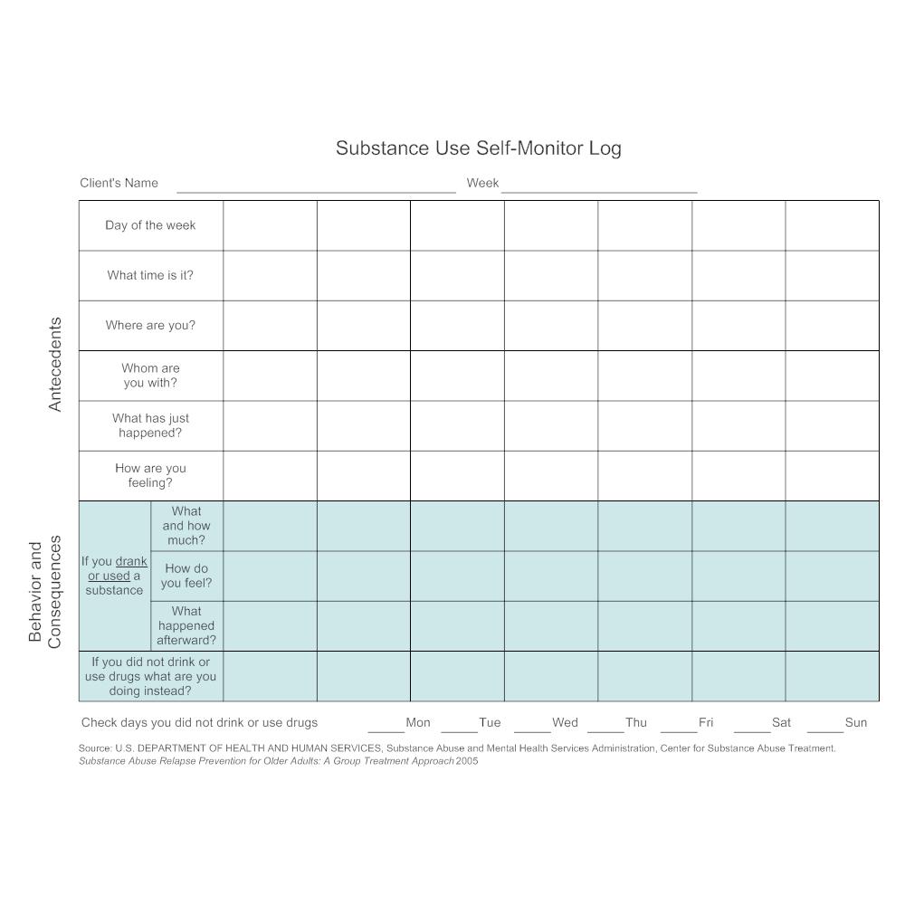 Example Image: Substance Use Self-Monitor Log
