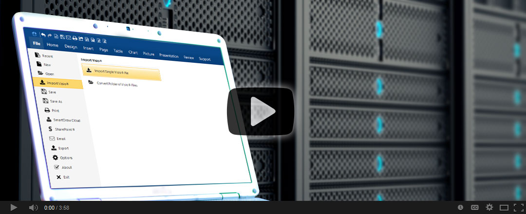 Watch how SmartDraw opens Visio files