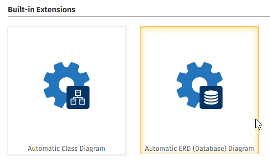 Click on the ERD Database Diagram Extension