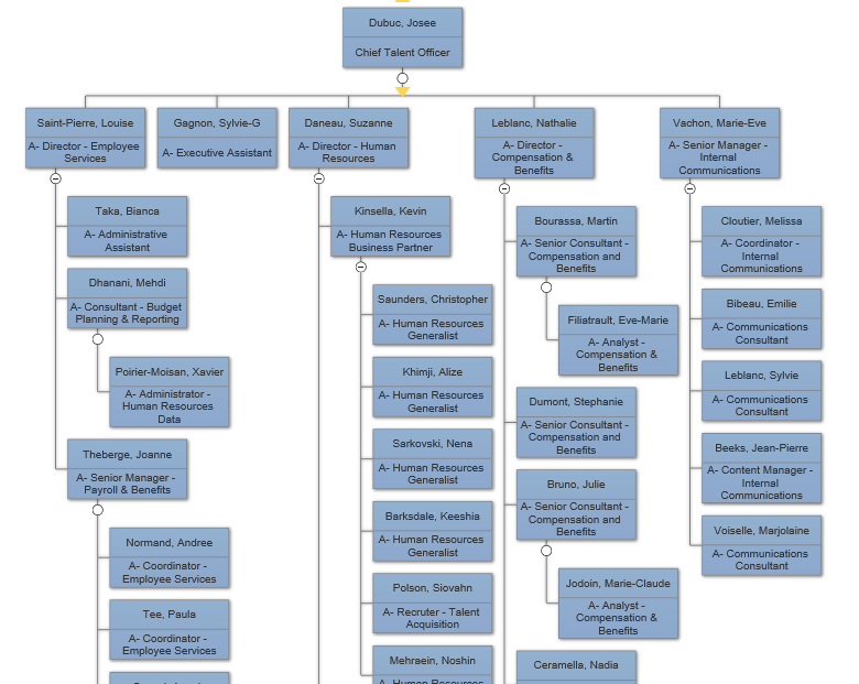 VisualScript Org chart from data