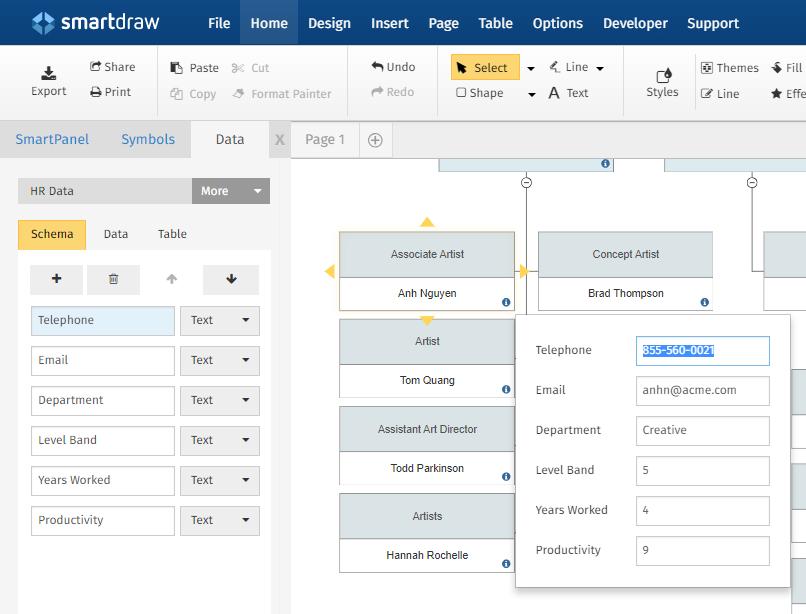 Shape data model example