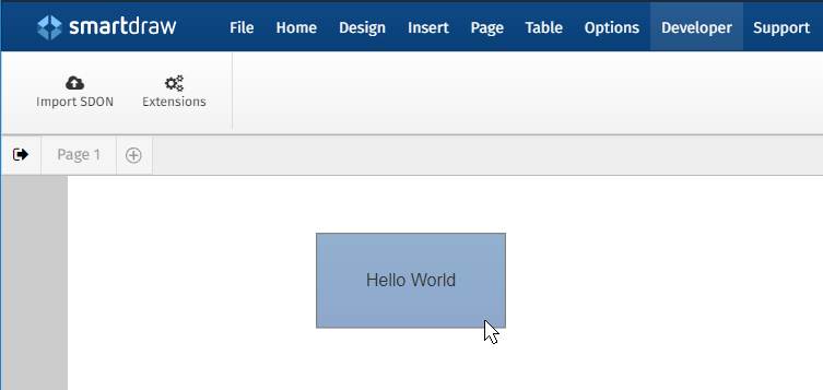 The most basic extension that makes a hello world shape