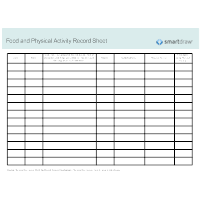 Food and Physical Activity Record Sheet