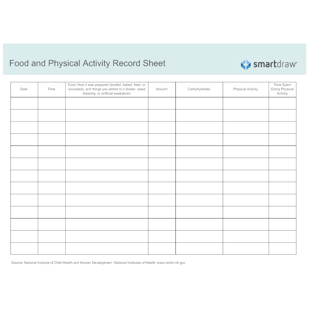 Example Image: Food and Physical Activity Record Sheet
