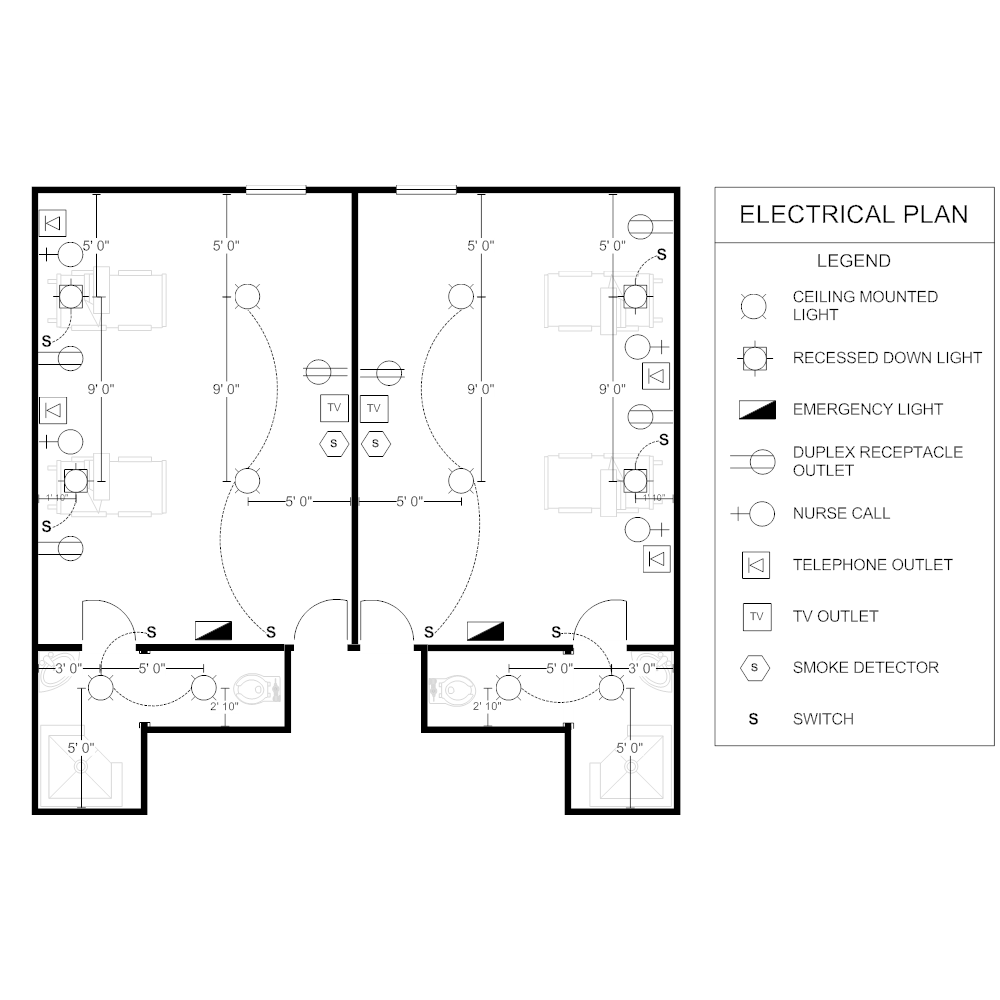 Electrical plan patient room Bad floor plans examples