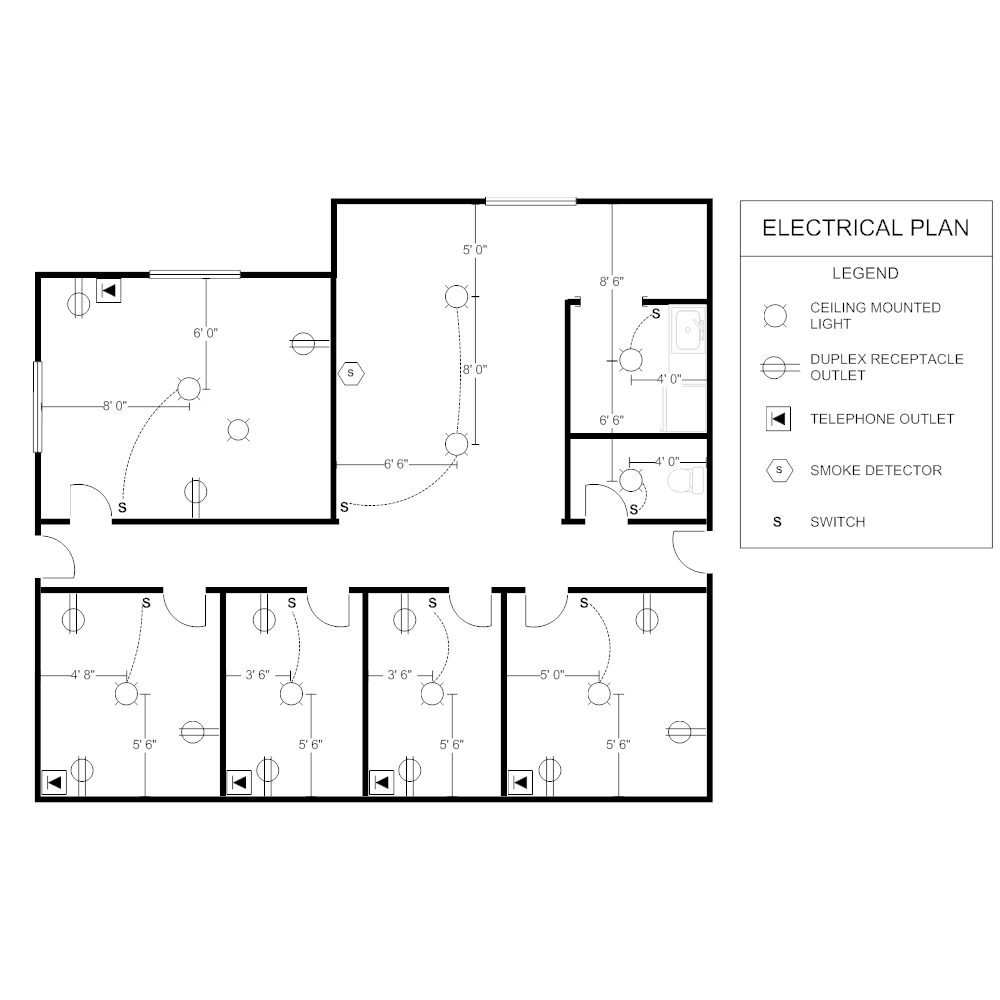 office electrical plan rh smartdraw com Simple Electrical Circuit Diagram Basic Electrical Diagrams