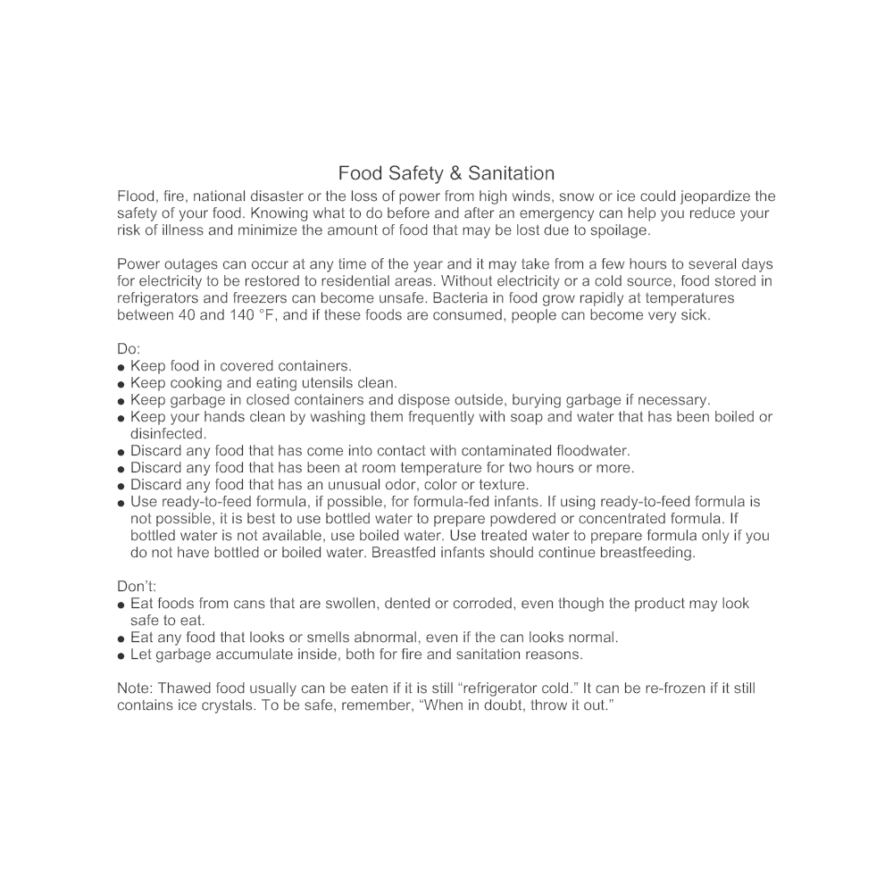 Example Image: Food Safety & Sanitation