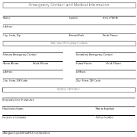 Emergency Contact and Medical Information