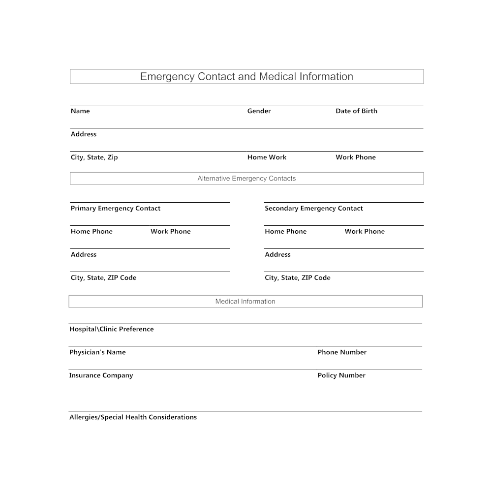 Example Image: Emergency Contact and Medical Information