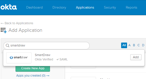 Add SmartDraw in Okta
