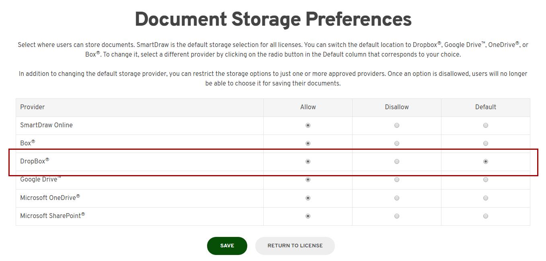 Set default storage