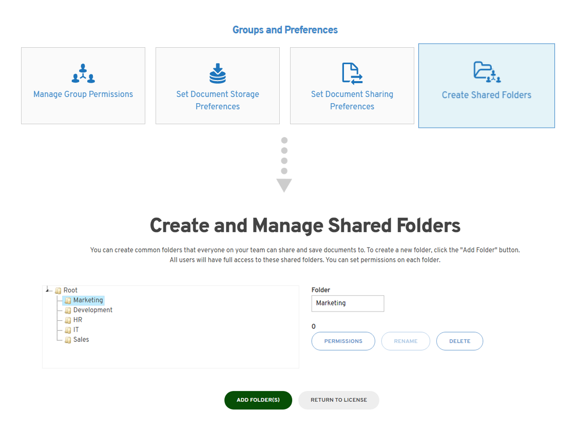 Create shared folders