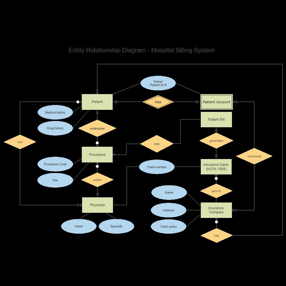 hospital billing entity relationship diagram Data Flow Diagram