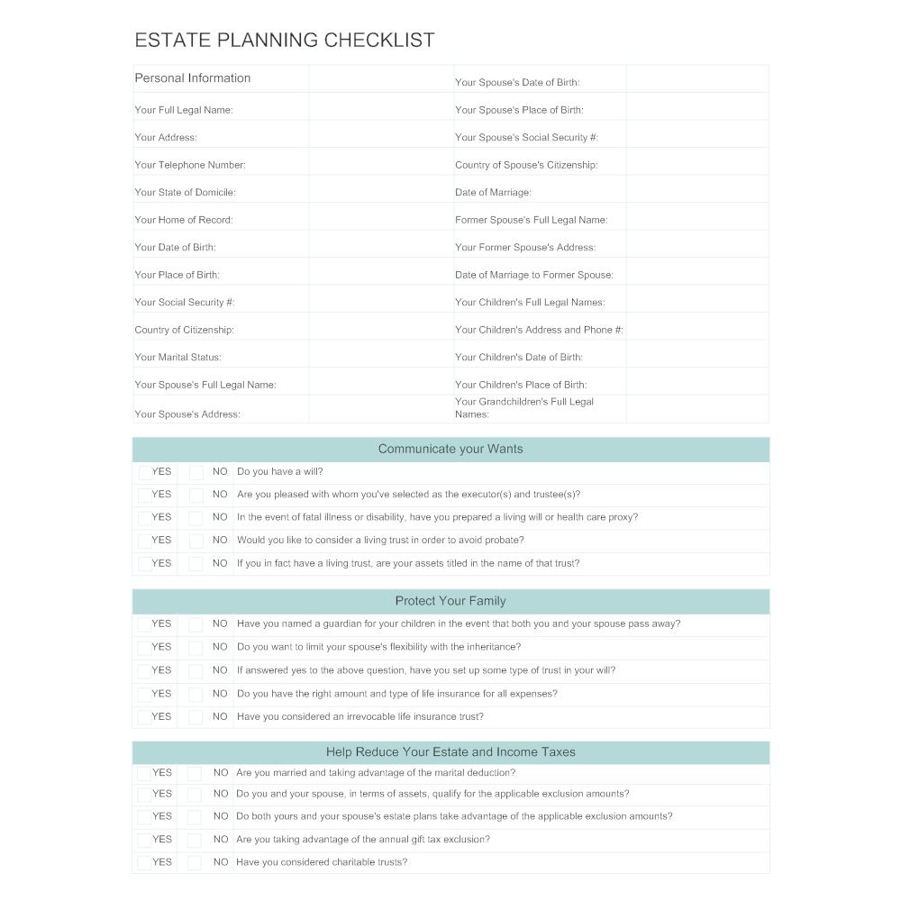 Estate Planning: Checklist