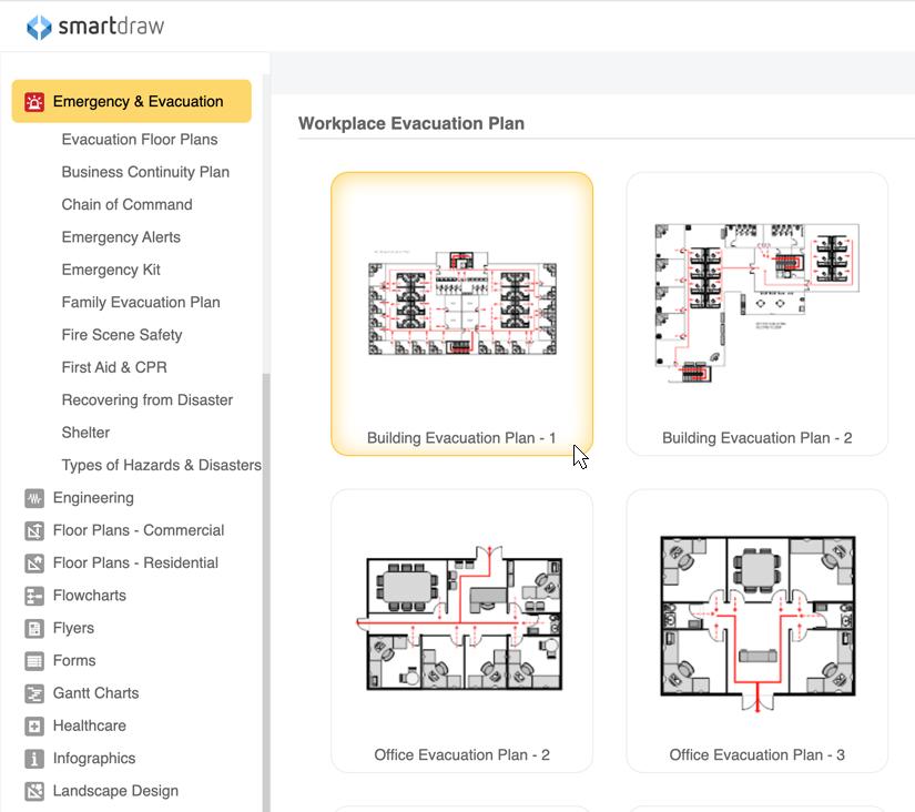 Emergency plan templates