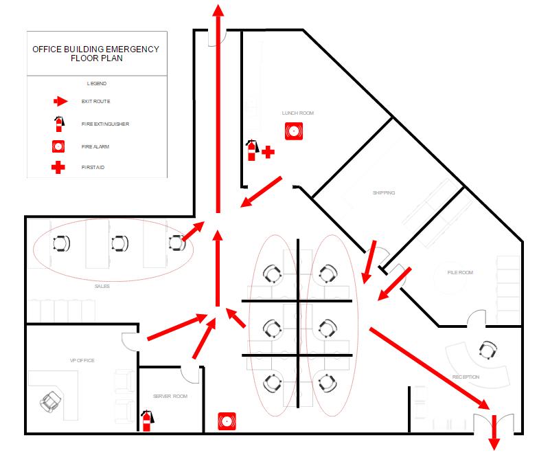 Building fire evacuation example