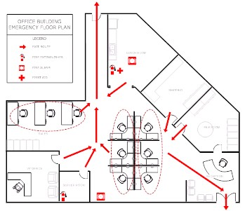 Evacuation plan template make evacuation plans easily for Fire evacuation plan template for office