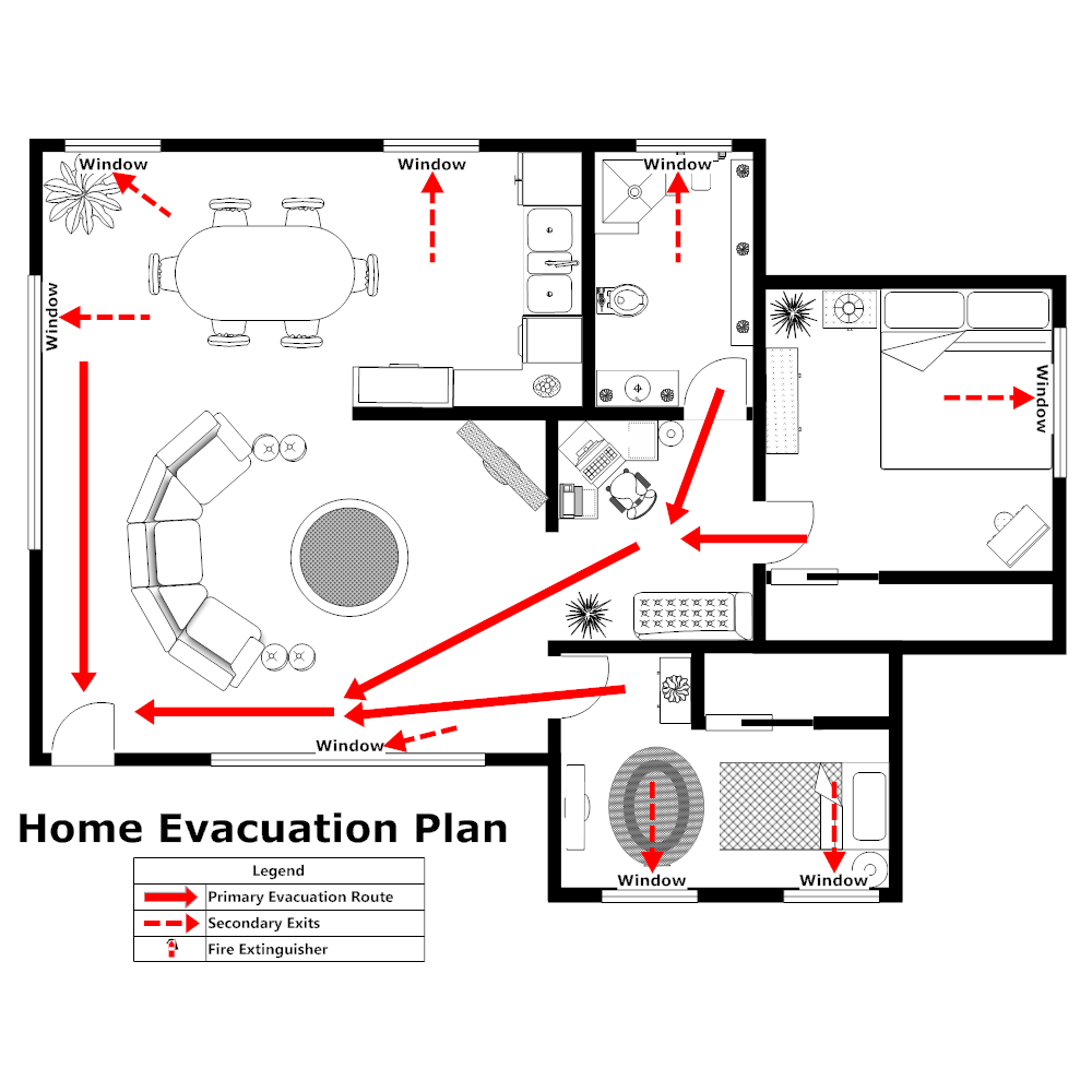 Home evacuation plan 2 for Fire evacuation plan template for office