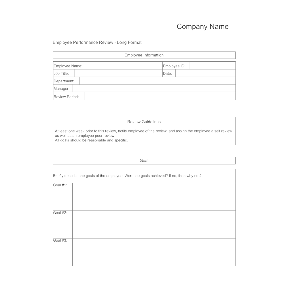Doc.#12401754: Performance Review Form Template – Free Employee ...
