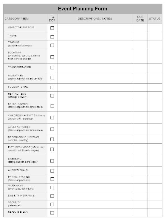 Event planning form