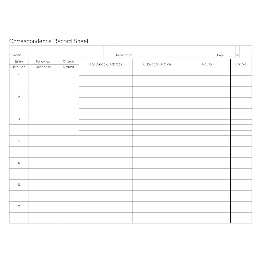 Example Image: Correspondence Record Sheet