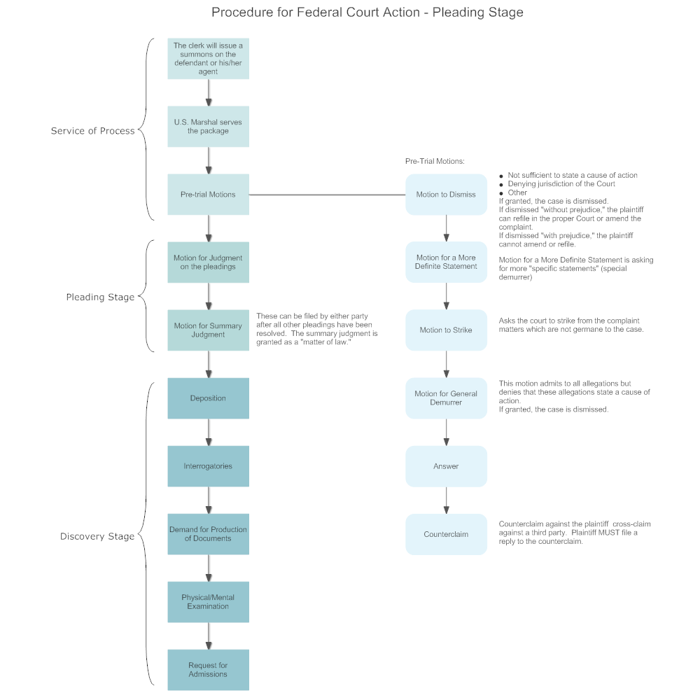 Example Image: Procedure for Federal Court Action - Pleading Stage