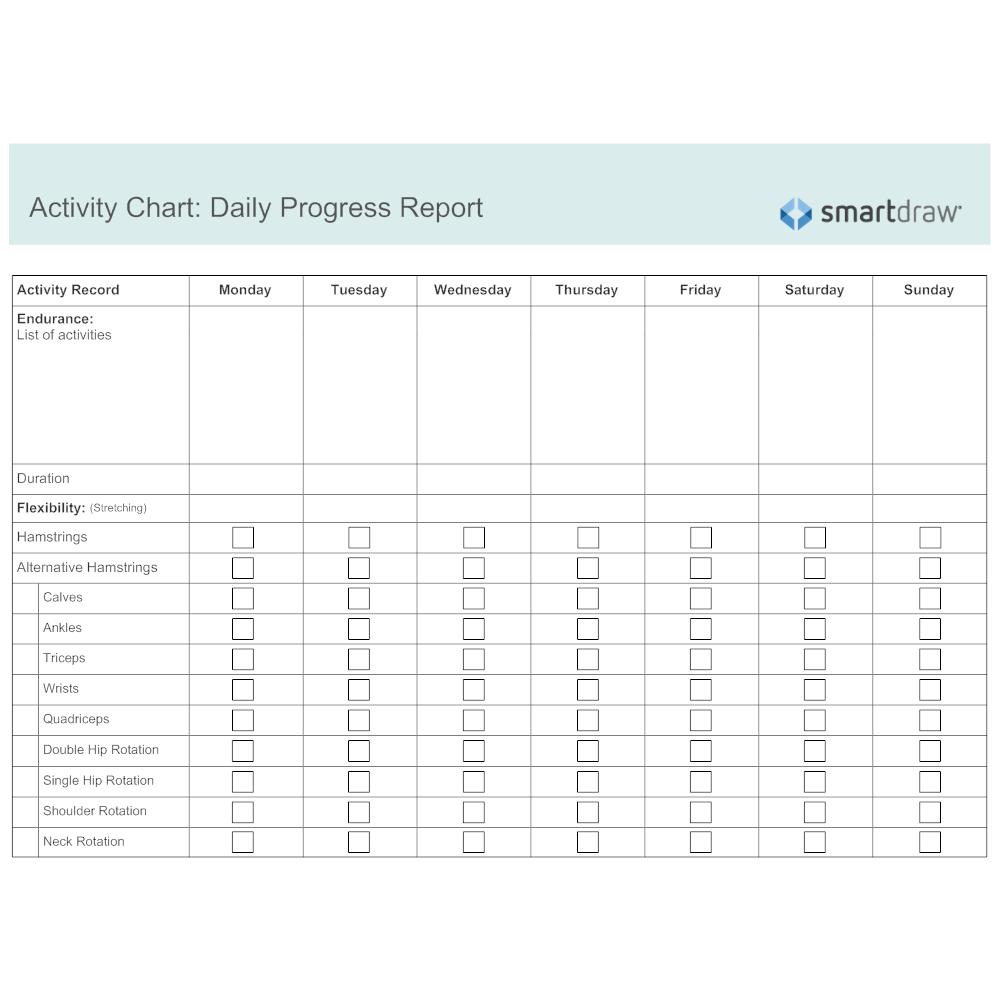 activity chart daily progress report. Black Bedroom Furniture Sets. Home Design Ideas