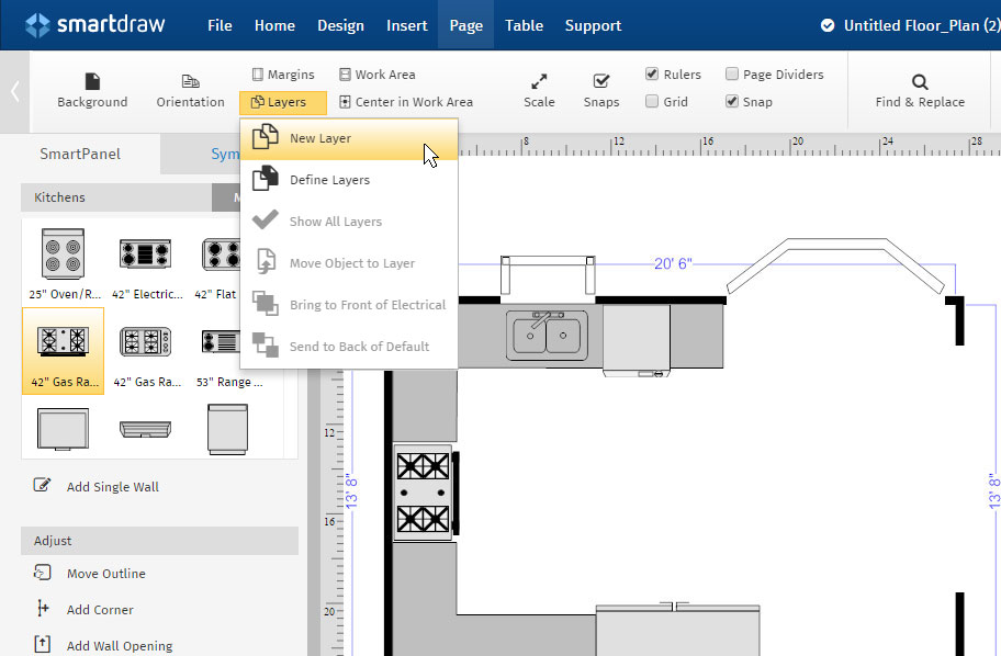 Advanced floor plan tutorial creating layers for Smartdraw tutorial floor plan