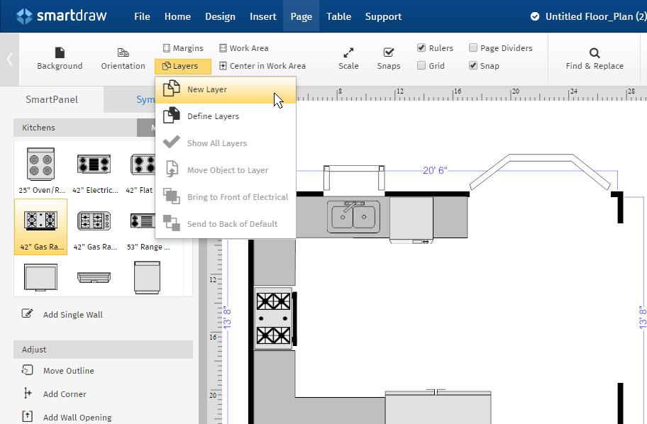 floor plan layers - Smartdraw Floor Plan Tutorial