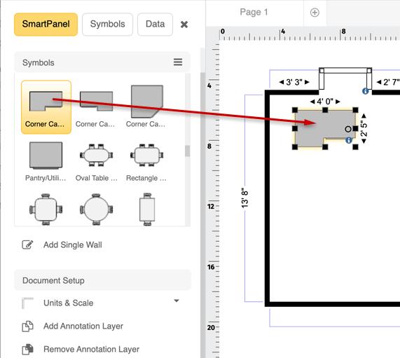 Floor plan counters