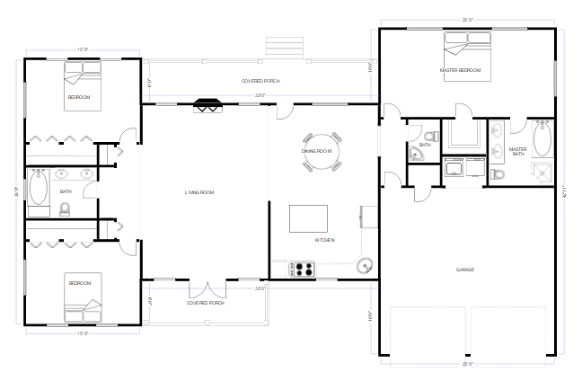 Cad drawing software easy cad drafting try smartdraw free for Easy floor plan drawing