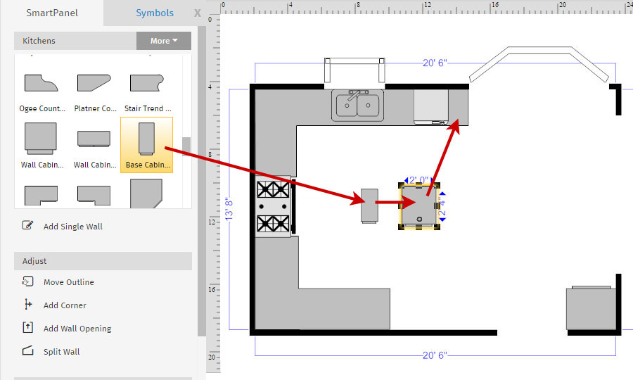 How to draw a floor plan with smartdraw create floor plans with floor plan custom cabinet malvernweather Choice Image