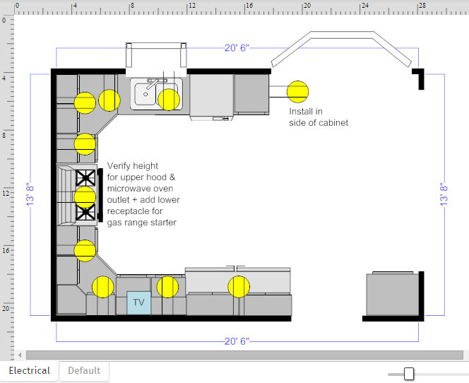 how to draw an outlet on a floor plan