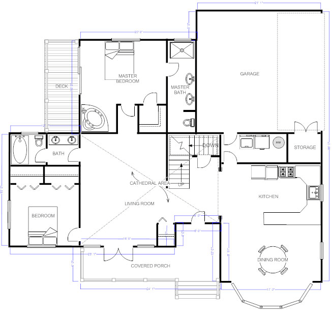 Draw floor plans try free and easily draw floor plans for Home plan drawing
