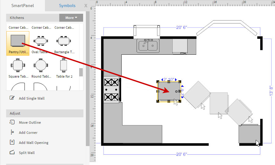 Incroyable Floor Plan Kitchen Cabinets