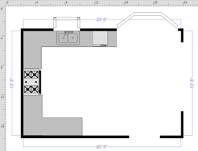 How to draw a floor plan with smartdraw kitchen floor plan finished malvernweather Gallery