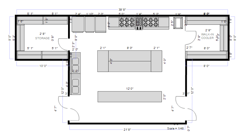 Kitchen floor plan and layout