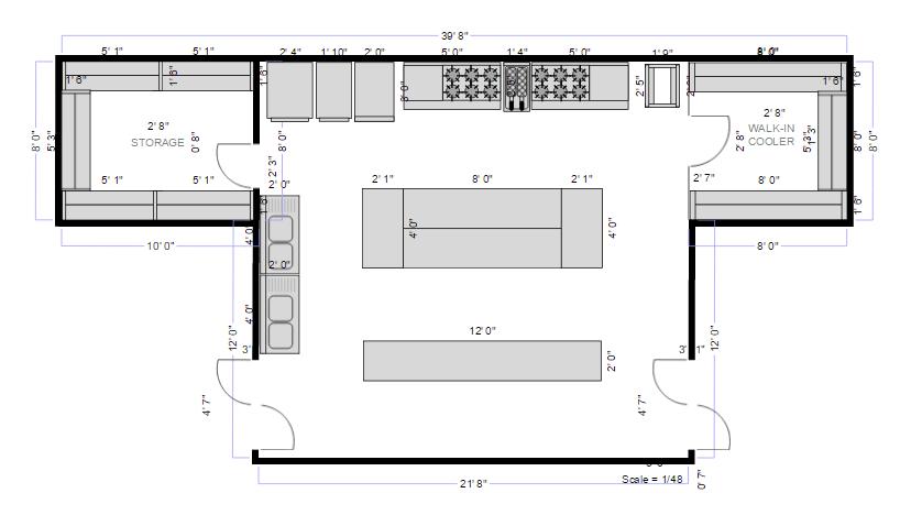 Kitchen floor plan and layout