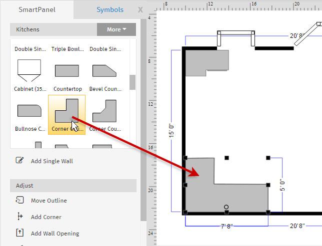 Floor plan corner counter
