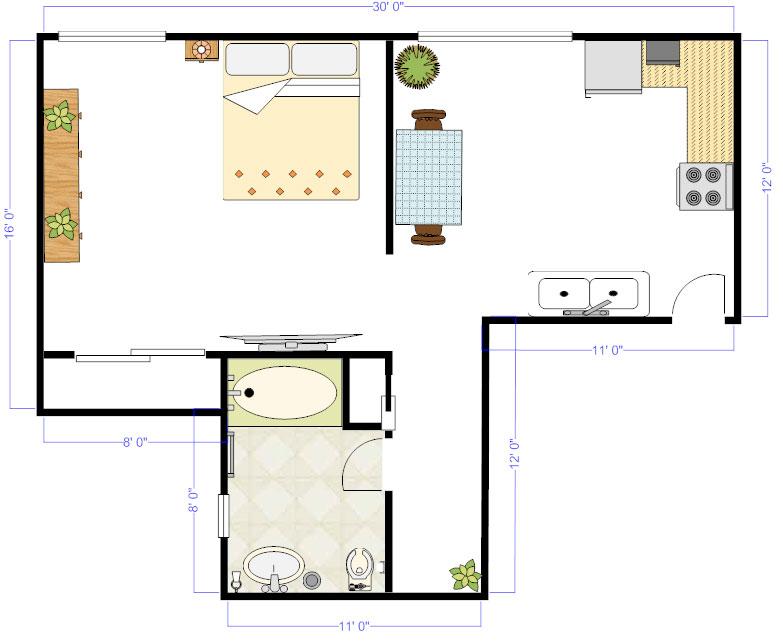 Attirant Studio Floor Plan