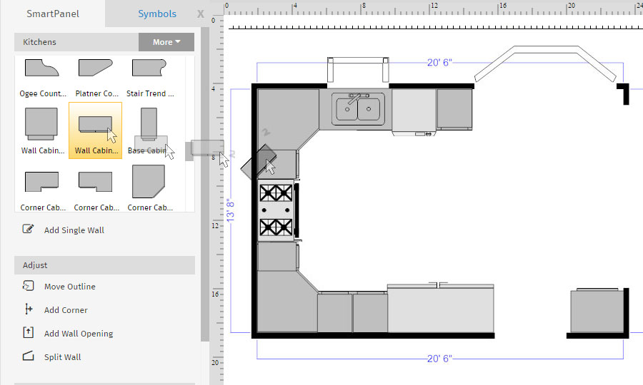 How to draw a floor plan with smartdraw floor plan upper cabinets malvernweather Gallery