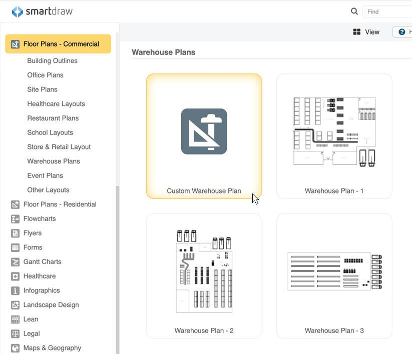 Warehouse layout templates