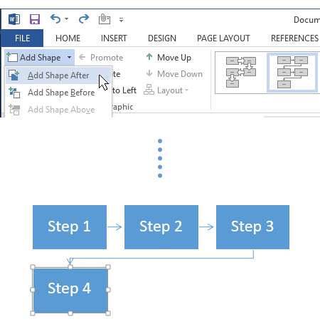 Add flowchart shape in Word