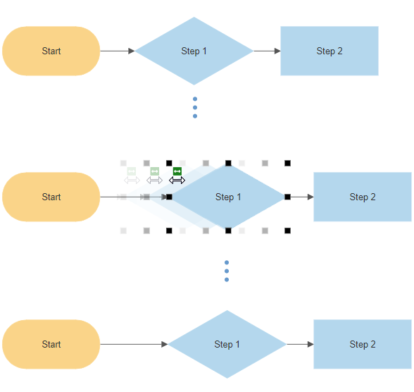 Flowchart spacing arrangement