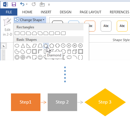 Change the shape of a flowchart symbol in Word